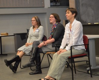 From left: Meagan Gonnea, Michele LaVigne, and Heidi Sosik answer questions from the audience.